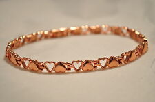 LADIES 10 IN FLIP-FLOP COPPER HEARTS HEALING MAGNETIC LINK ANKLET: For Pain!