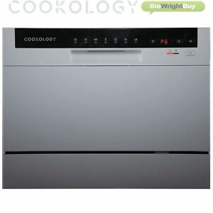 Cookology CTTD6SL Silver Table Top Dishwasher, 6 place settings, Mini Countertop