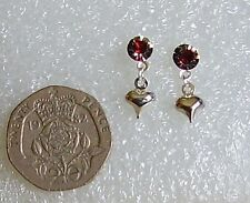 red / clear rhinestone with silver heart ear studs