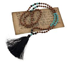 collar Collar mala Rudraksha Ø7mm Cuentas Piedra de Lava y turquesa 25225 S4