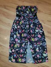 City Chic Size M 18 Strapless Floral Midi Dress Pockets Waist Belt BNWOT