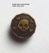 1 Tête de Mort Métal avec Œillet 15 MM Laiton Antique