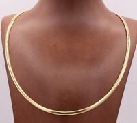 4mm Italian Reversible Omega Chain Necklace 14K Yellow Gold Clad Silver 925