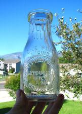 EMB PINT old CITY VIEW DAIRY / HONSAKER & SONS milk bottle UNIONTOWN, PA PENNA