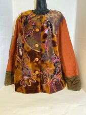 Coldwater Creek Brown Boho Embroidered patches Duster Coat Wooden Buttons Sz 2X