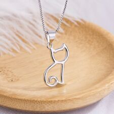 Pretty Cat Pendant 925 Sterling Silver Chain Necklace Womens Girl Jewellery Gift