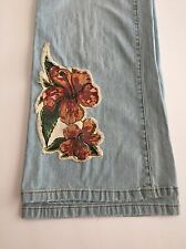 Stamp 10 womens jeans floral patches light blue wash hibiscus size 8 flare B-2