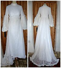VINTAGE 60S LACE BALLOON FLARED SLEEVE WEDDING DRESS WITH TRAIN UK 8 MOD