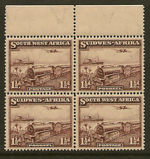 SOUTH WEST AFRICA: 1937 1 1/2d purple-brown SG96 unmounted mint block of four