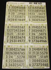 BINGO PAPER Cards, 6 on 1 Olive T 50 sheets NO duplicates  BONUS LINE  FREE SHIP