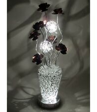 SILVER ALUMINIUM WOVEN WIRE FLORAL TABLE / FLOOR LAMP COFFEE FLOWERS LED BULBS
