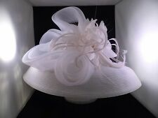 Ladies Hat Dressy Umbrella White with Beautiful wide front