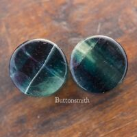 Pair of Rainbow Fluorite Stone Plugs Double Flared ear lobe 6mm to 25mm 10 sizes
