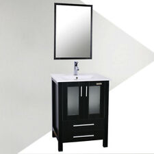 "Bathroom Vanity Cabinet 24"" W/ Mirror White Rectangle Ceramic Sink Faucet Drain"