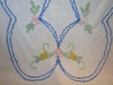 Vintage Chenille Plush Ribbed Bedspread White Blue Pink Green Floral Twin Full