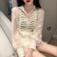 Women Ladies Retro Shirt Long Blouse Tops Victorian Sheer Casual Party Retro