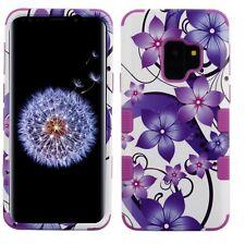 SAMSUNG galaxy S9 purple hibiscus flowers 3 layer hybrid case USA SELLER