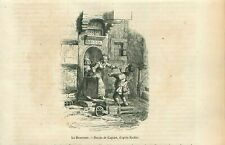 Bienvenue Welcome Adrian Ludwig Richter Germany GRAVURE ANTIQUE OLD PRINT 1853