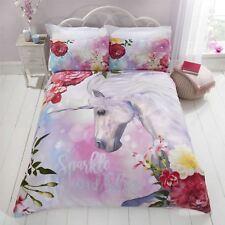 BRILLO unicornio Floral Flores Rosa Blanco Doble 4 piezas Juego de cama