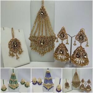 Women Traditional Indian Earrings With Tikka & Jhoomar Bridal Jewellery Set