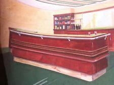 Dessin architecture intérieure projet de bar peint à la gouache circa 1950