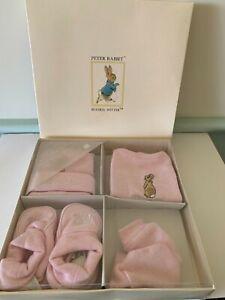 Peter Rabbit Beatrix Potter Baby GIRL set Pink Bib Booties Bonnet Mittens New 1