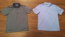Two Large Greg Norman Polo Shirts Golf Clothing T Shirts Dark & Light Blue