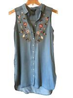 Terre Bleue Womens Denim Tunic Dress Size S Blue Embroidered  Pockets Sleeveles