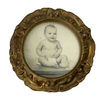 Vintage Mid Century Picture Frame Baby Picture Sepia Round Gold Tone Small e1