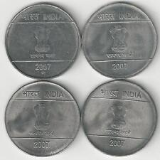 4 DIFFERENT 2 RUPEE COINS from INDIA (ALL 2007 with MINT MARKS of B/C/H/N)