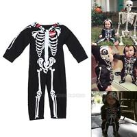 Newborn Baby Boys Toddler Skeleton Jumpsuit Romper Halloween Fancy Dress Costume