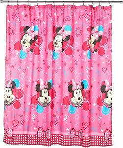 Nice Minnie Mouse Pink Girl's Cartoon Cute Washable Fabric Shower Curtain