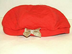 Gymboree Girls Red Woodland Wonder Quilted Beret Hat Size M Gold Glittery Bow