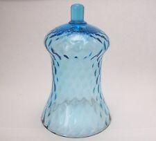 "Vintage Home Interiors blue glass peg votive holder, 4 1/2"" high, crimped edge"