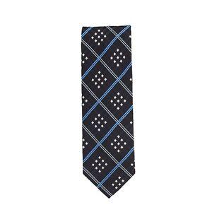 Silk Ties Krawatte Klassisch Seide Navy Blau Rautenmuster 7 cm