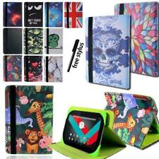 """Folio Leather Rotating Stand Cover Case For 7"""" 8""""10"""" Vodafone Smart Tab + Stylus"""