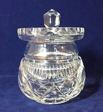 Vintage Crystal Cut Glass Jam Preserve Honey Serving Pot Jar & Lid