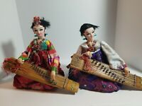 Vintage Lot Of 2 1980's Korean Traditional Dolls Gayageum Extremely Rare!