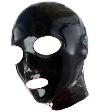 Black Latex Hood ***Non Zipper*** Pull On Back Natural Rubber Size M