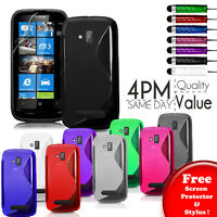 Grip S-Line Silicone Gel Case Cover Fits NOKIA LUMIA 610 Free Screen Protector