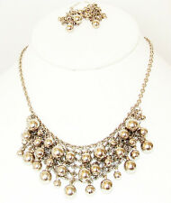 "ICON 15"" SILVER TONE MULTI BEAD BIB FASHION NECKLACE NO STONE JEWELRY SET NEW"