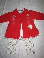Outfit 3 Piece Set Baby Girls 6-9 Months Top Leggings Jacket Cotton NWT Red New