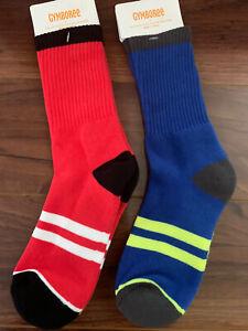 Gymboree Boy Cushion Socks Blue Red Half Crew 2 Pairs Sz S 5-7 Yrs Shoe Sz 11-12