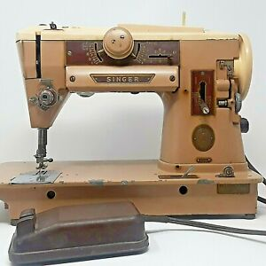 Vintage Singer 401A Slant O Matic Sewing Machine w/ Foot Pedal & Power Cord