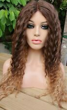 Light Brown Blonde Curly Human Hair Blend Wig Lace Front Perm Tight Curls Afro