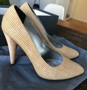 7 SEVEN FOR ALL MANKIND Ditzy Natural Raffia Pumps Heels Shoes Sz 8 M Worn Once