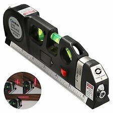 Laser Level Pro 3 Measuring Equipment W/ Adjustable Beam & 8Ft Tape By Qooltek