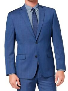 Michael Kors Mens Suit Jacket Blue Size 46 Long Airsoft Stretch Wool $450 #126