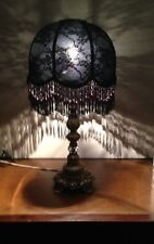 LOVELY BLACK COLORED NEW HAND CRAFTED  LACE  SHADE FOR Table LAMP