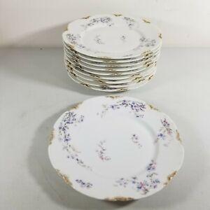 """10 Haviland Limoges BLUE / PINK FLORAL France Dinner Plates  9.5"""" China Gold"""